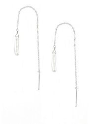 Chan Luu 3Mm White Baroque Pearl And Sterling Silver Threader Earrings