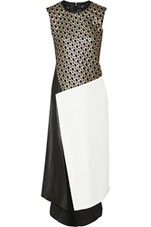 Reed Krakoff Paneled Eyelet Lace Twill And Leather Dress