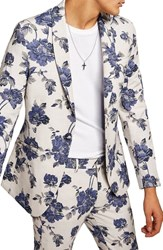 Topman Skinny Fit Floral Suit Jacket Blue