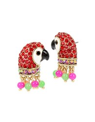 Betsey Johnson Tropical Punch Pave Parrot Stud Earrings Multicolor