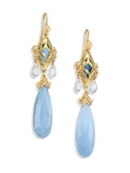 Anthony Camargo Blue Opal London Blue Topaz Moonstone And 14K Yellow Gold Chandelier Earrings Gold Topaz