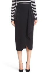 Max Mara Women's Acqua Leather Pocket Wool Skirt
