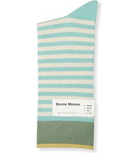 Bonne Maison Striped Cotton Blend Socks Green