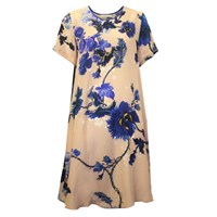 Klements Frieda Dress In Gothic Floral Blues Print Pink Purple