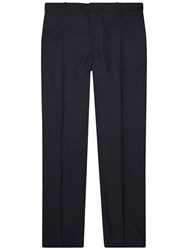 Jaeger Geometric Square Slim Fit Suit Trousers Navy