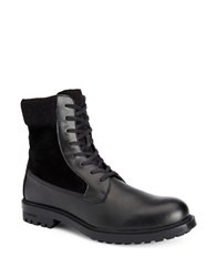 Calvin Klein Gable Leather Mid Calf Boots Black