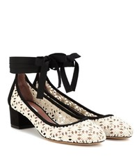 Tabitha Simmons Minnie Daisy Crochet And Suede Pumps White