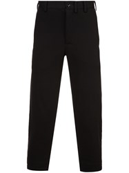 Yohji Yamamoto Shankar Plain Stitch Padded Trousers Cotton Black