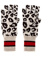 Autumn Cashmere Sporty Athletic Leopard Fingerless Gloves In White. Mojave Mocha And Black