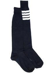 Thom Browne Striped Patch Socks Men Cotton Polyamide One Size Blue
