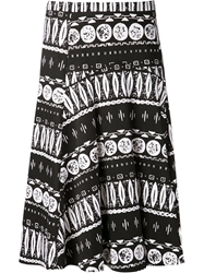 Veronica Beard Aztec Print Skirt Black