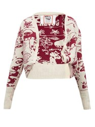 Matty Bovan Tucked Hem Ufo Jacquard Cardigan Cream Multi