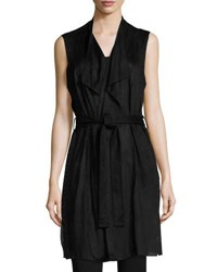Joan Vass Perforated Faux Suede Vest Black