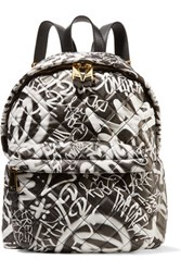 Moschino Embossed Printed Quilted Leather Backpack White