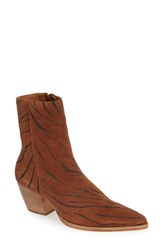 Matisse Caty Western Pointy Toe Bootie Tiger Suede