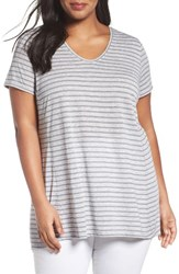 Sejour Plus Size Women's V Neck Stripe Tee