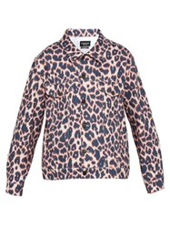 Calvin Klein 205W39nyc Leopard Print Denim Jacket Brown Multi