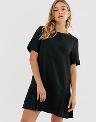 Na Kd Mini Pleated Panel Shift Dress With Short Sleeves In Black