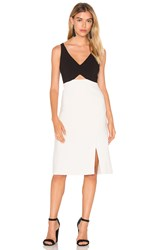 Halston V Neck Colorblock Sleeveless Dress Black And White