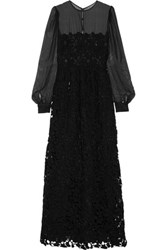 Valentino Silk Chiffon And Embroidered Cotton Blend Lace Gown Black