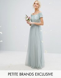 Maya Petite Bardot Maxi Dress With Delicate Sequins And Tulle Skirt Mint Green