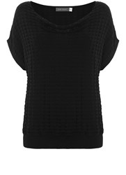 Mint Velvet Black Open Stitch Slouchy Tee Black