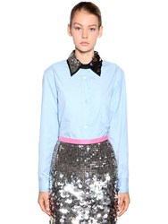 N 21 Embellished Cotton Poplin Shirt Light Blue