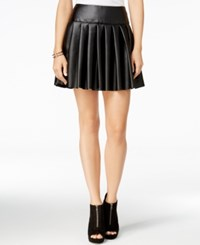 Chelsea Sky Pleated Faux Leather Mini Skirt Only At Macy's Black