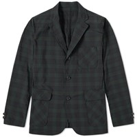 Beams Plus 3 Button Check Blazer Black