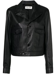Saint Laurent Button Front Leather Jacket Black