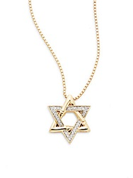 John Hardy Bamboo 0.13 Tcw Diamond And 18K Yellow Gold Star Of David Pendant Necklace