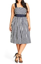 City Chic Plus Size Women's So Fab Stripe Sundress Navy