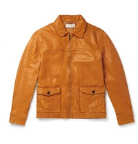 Alex Mill Tumbled Leather Jacket Yellow