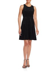 Ivanka Trump Faux Suede Drop Waist Sleeveless Fit And Flare Dress Black