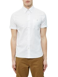 Ted Baker Wooey Textured Cotton Short Sleeve Shirt White