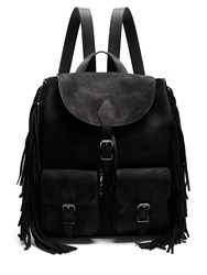 Saint Laurent Fringed Suede Backpack Black