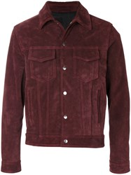 Ami Alexandre Mattiussi Buttoned Jacket Cotton Acetate Leather Red
