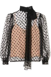 Costarellos Pussy Bow Polka Dot Flocked Tulle Blouse Black