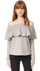 Robert Rodriguez Cold Shoulder Ruffle Sleeve Tee Heather Grey