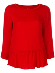 Marc Cain Frilled Hem Blouse Cotton Polyester Red