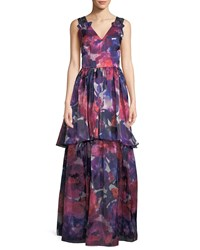 David Meister V Neck Sleeveless Floral Print Tiered Evening Gown W Beaded Straps Pink