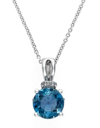 Effy 14K White Gold London Blue Topaz Pendant With Diamond Accent Blue Topaz White Gold