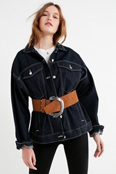 Urban Outfitters Mega Wide Suede Belt Brown