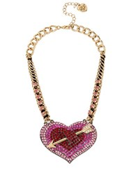 Betsey Johnson Pave Heart And Arrow Necklace Pink