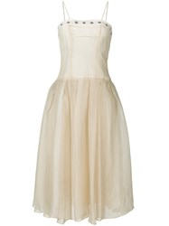 Romeo Gigli Vintage Full Midi Gown Nude And Neutrals