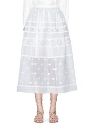 Temperley London 'Lizette' Lace Trim Floral Embroidery Organdy Skirt Grey