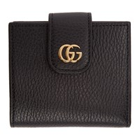 Gucci Black Small Marmont Snap Card Case Wallet