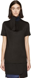 Paco Rabanne Black Draped Turtleneck Top
