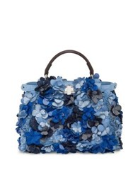 Fendi Peekaboo Floral Denim Satchel Blue