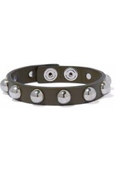 Red Valentino Studded Leather Bracelet Army Green